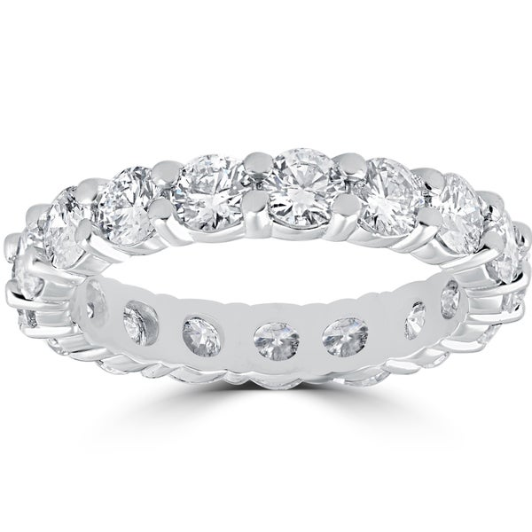 14k White Gold 2.70 ct TDW Diamond Eternity Eco Friendly Lab Grown Womens Wedding Ring