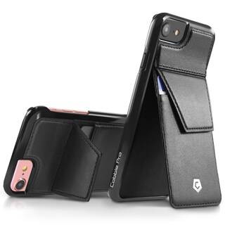 CobblePro Black Genuine Leather Case Cover with Stand/ Wallet Flap Pouch For Apple iPhone 6/ 6s/ 7