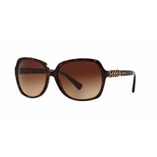 Coach Women HC8155QF 512013 Havana Metal Square Sunglasses