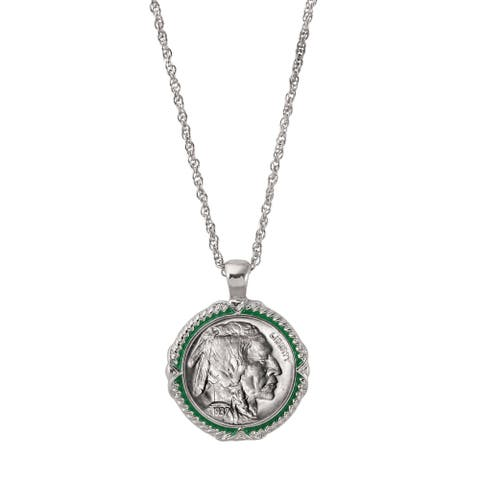 American Coin Treasures Buffalo Nickel Green Enamel Coin Pendant Necklace