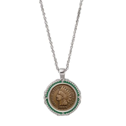 American Coin Treasures Indian Head Penny Green Enamel Coin Pendant Necklace
