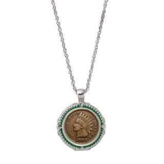 American Coin Treasures Indian Head Penny Green Enamel Coin Pendant Necklace