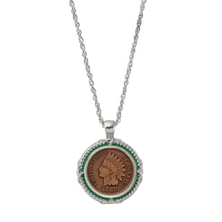 American Coin Treasures 1800's Indian Head Penny Green Enamel Coin Pendant Necklace