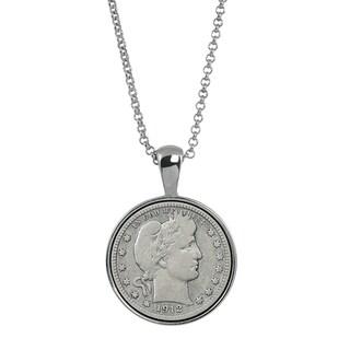 American Coin Treasures Silver Barber Quarter Silver-tone Coin Pendant