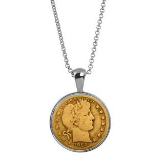 American Coin Treasures Gold-layered Silver Barber Quarter Coin Pendant