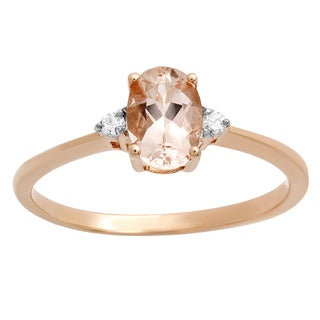 10k Rose Gold 3/4ct TDW Oval-cut Morganite and Diamond Bridal Promise Engagement Ring (I-J, I2-I3)