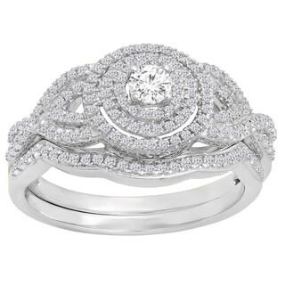 10k Gold 1/2ct TDW Round White Diamond Swirl Halo Style Split Shank Bridal Set (I-J, I1-I2)