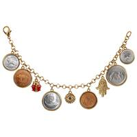 American Coin Treasures Goldtone Lucky Coin Charm Bracelet with Lobster Claw Clasp