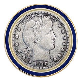 American Coin Treasures Silver Barber Quarter Coin Lapel Pin