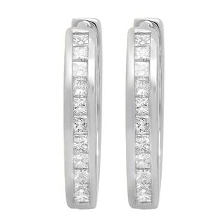 10k Gold 1/4ct TDW Princess-cut White Diamond Hoop Earrings