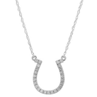 14k White Gold 1/5ct TDW Round White Diamond Horseshoe Pendant (I-J, I2-I3)