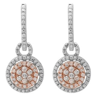 10k Two-tone Gold 3/4ct TDW Round White Diamond Cluster Style Dangling Earrings (I-J, I1-I2)