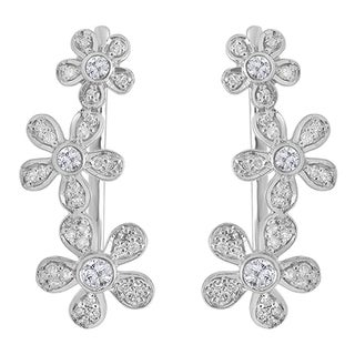 Sterling Silver 2/5ct TDW Round-cut White Diamond Floral Ear Climber Earrings (I-J, I2-I3)
