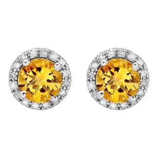 14k White Gold 1 7/8ct TDW Round-cut Yellow Citrine and Diamond Halo Stud Earrings (I-J, I2-I3 )