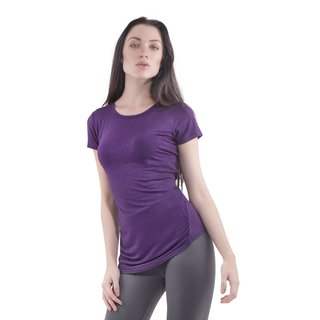Bluberry Denim Women's Red/Black/Purple Rayon and Spandex Gathered Side Seam T-shirt