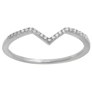 10k Gold 1/10ct TDW Round White Diamond Wedding Stackable Band Anniversary Guard Chevron Ring (I-J, I2-I3)