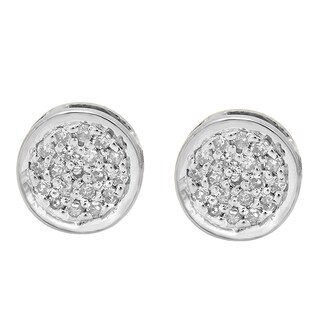14k Gold 1/10ct TDW Round Diamond Circle Cluster Stud Earrings (I-J, I2-I3)