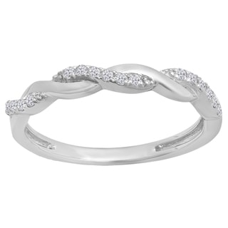 Sterling Silver 1/6ct TDW Round-cut White Diamond Swirl Anniversary Wedding Stackable Band (I-J, I2-I3)
