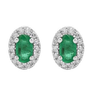 10k White Gold 5/8ct TDW Oval Emerald and Diamond Halo Fashion Stud Earrings (I-J, I2-I3)