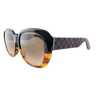 Bottega Veneta BV 302/F TM6 Black Havana Plastic Cat-Eye Brown Gradient Lens Sunglasses