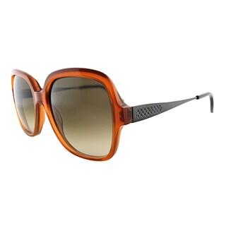 Bottega Veneta BV 246 F28 Orange Plastic Square Brown Gradient Lens Sunglasses
