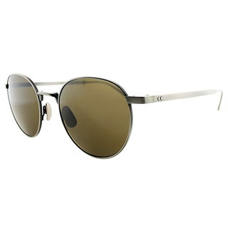 Bottega Veneta BV 315 SLN Brushed Gunmetal Metal Round Sunglasses Brown Lens
