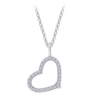 14K White Gold 1/4ct TDW Diamond Heart Pendant with Cable Chain