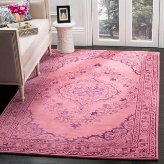 Safavieh Handmade Glamour Contemporary Medallion Pink Viscose Rug (8' x 10')