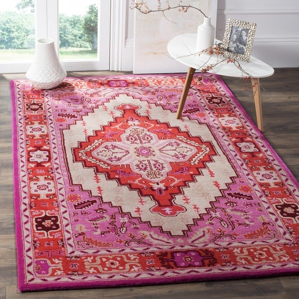Safavieh Bellagio Handmade Bohemian Red Pink Ivory Wool