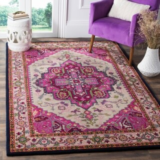 Safavieh Bellagio Handmade Bohemian Ivory/ Pink Wool Rug (8' x 10')