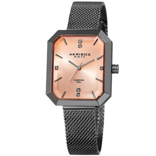Akribos XXIV Women's Quartz Diamond Stainless Steel Gray Bracelet Watch