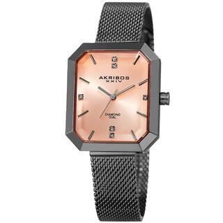 Akribos XXIV Women's Quartz Diamond Stainless Steel Gray Bracelet Watch