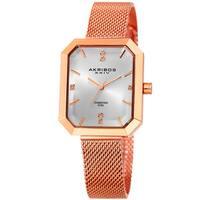 Akribos XXIV Women's Quartz Diamond Stainless Steel Rose-Tone Bracelet Watch