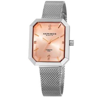 Akribos XXIV Women's Quartz Diamond Stainless Steel Silver-Tone Bracelet Watch with GIFT BOX