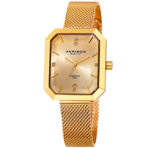 Akribos XXIV Women's Quartz Diamond Stainless Steel Gold-Tone Bracelet Watch