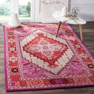 Safavieh Bellagio Handmade Bohemian Red Pink/ Ivory Wool Rug (2' 6 x 4')