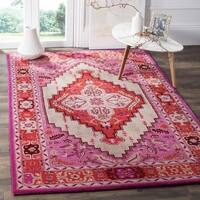 Safavieh Bellagio Handmade Bohemian Red Pink/ Ivory Wool Rug - 2'6 x 4'
