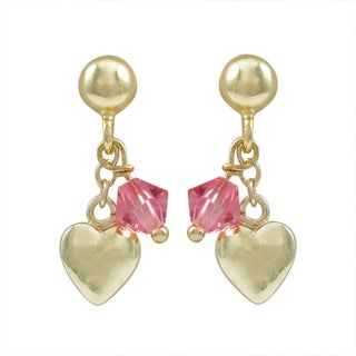 Luxiro Gold Finish Sterling Silver Swarovski Crystals Children's Heart Earrings
