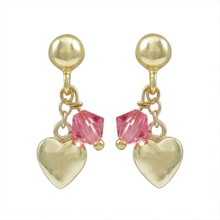 Luxiro Gold Finish Sterling Silver Swarovski Elements Crystals Children's Heart Earrings