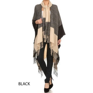 Women's Long Poncho Sweater with Detachable Scarf