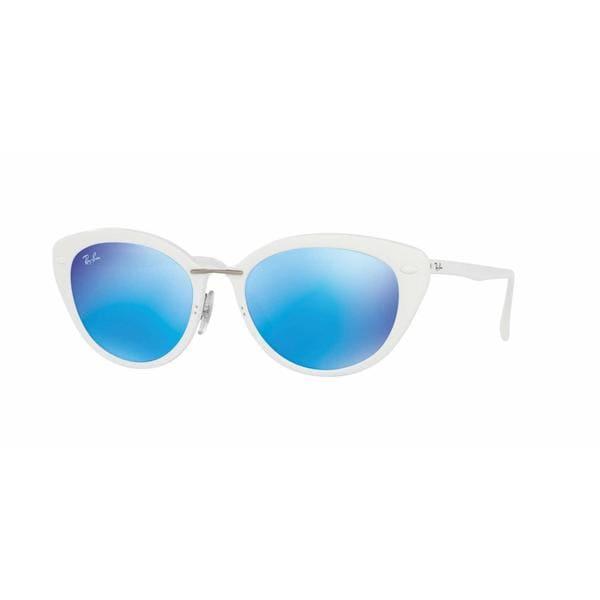 502bcc16ba Shop Ray Ban Women RB4250 671 55 White Plastic Rectangle Sunglasses ...