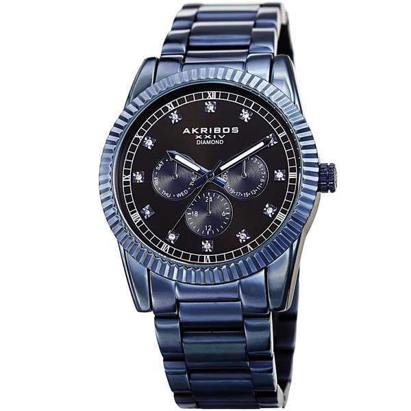 Akribos XXIV Men's Quartz Diamond Multifunction Stainless Steel Blue Bracelet Watch