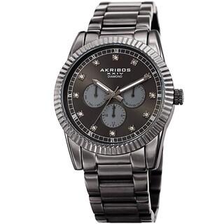 Akribos XXIV Men's Quartz Diamond Multifunction Stainless Steel Grey Bracelet Watch - black