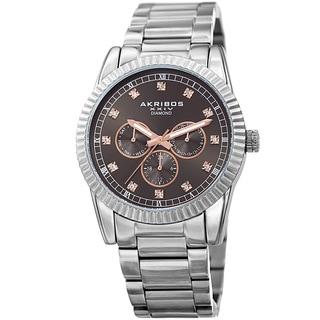 Akribos XXIV Men's Quartz Diamond Multifunction Stainless Steel Silver-Tone Bracelet Watch