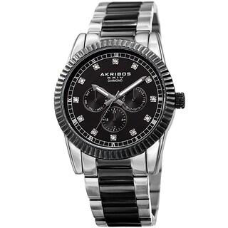 Akribos XXIV Men's Quartz Diamond Multifunction Stainless Steel Two-Tone Bracelet Watch