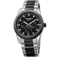 Akribos XXIV Men's Quartz Diamond Multifunction Stainless Steel Two-Tone Bracelet Watch - black