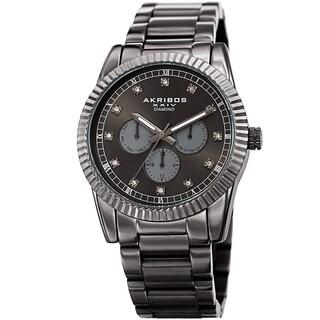 Akribos XXIV Men's Quartz Diamond Multifunction Stainless Steel Bracelet Watch - Gold (Option: Grey)