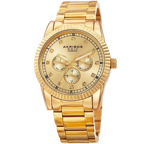 Akribos XXIV Men's Quartz Diamond Multifunction Stainless Steel Bracelet Watch - GOLD