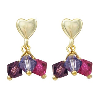 Luxiro Gold Finish Sterling Silver Swarovski Element Crystals Children's Heart Earrings
