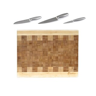 Geminis Bamboo/Stainless Steel 4-piece Cutting Board/Knives Cut/Chop Set
